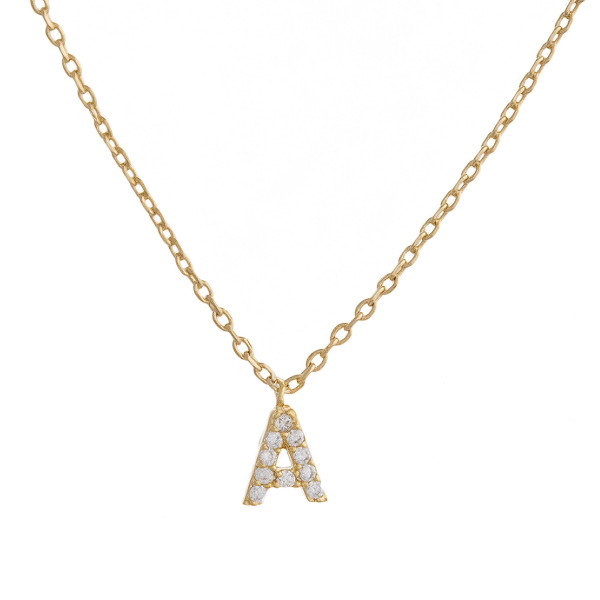 """Gold dipped necklace with initial """"A"""" pendant. Approximate 20"""" in length with 0.5"""" pendant."""