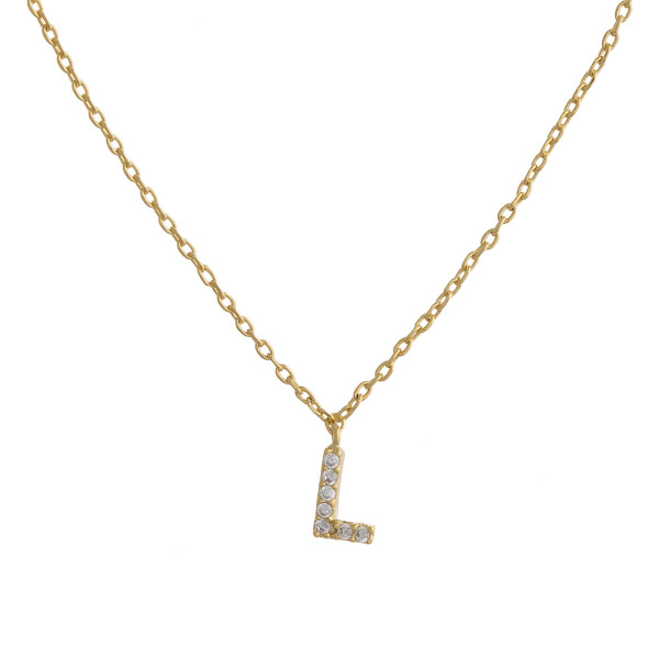 """Gold dipped necklace with initial """"L"""" pendant. Approximate 20"""" in length with 0.5"""" pendant."""