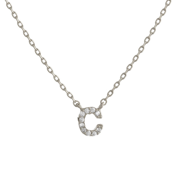 """Gold dipped necklace with initial """"C"""" pendant. Approximate 20"""" in length with 0.5"""" pendant."""