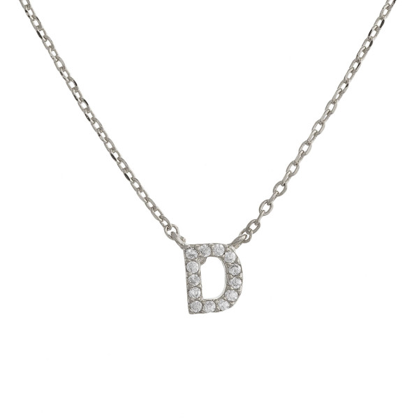 """Gold dipped necklace with initial """"D"""" pendant. Approximate 20"""" in length with 0.5"""" pendant."""
