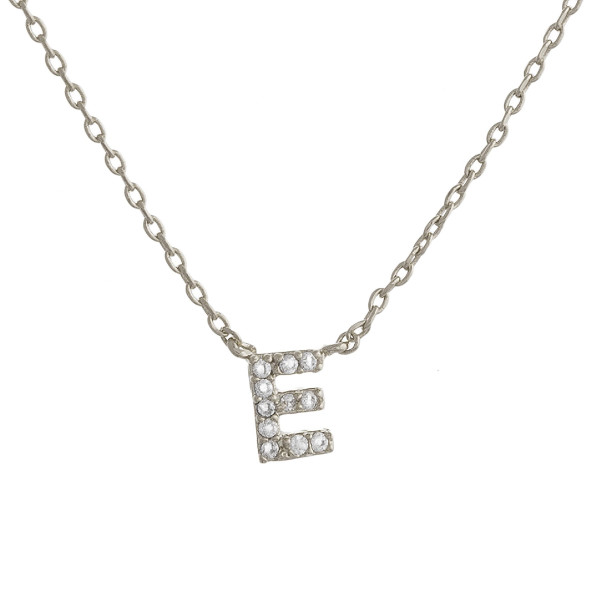 """Gold dipped necklace with initial """"E"""" pendant. Approximate 20"""" in length with 0.5"""" pendant."""
