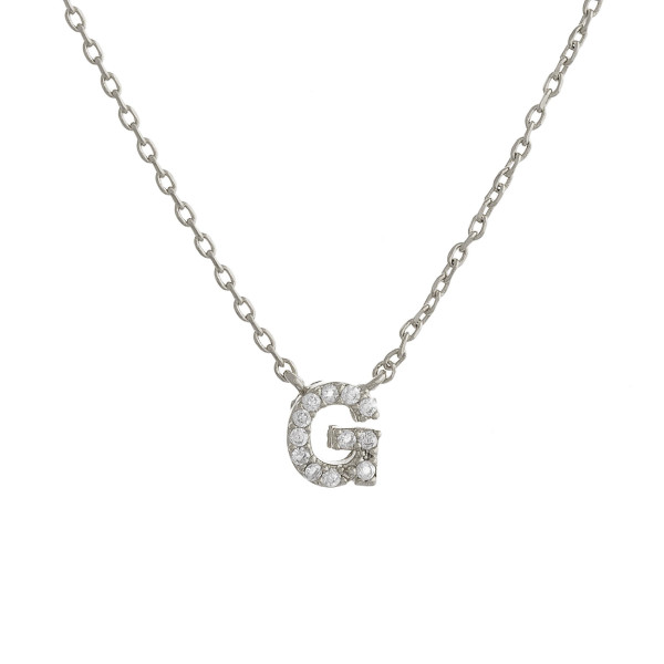 """Gold dipped necklace with initial """"G"""" pendant. Approximate 20"""" in length with 0.5"""" pendant."""