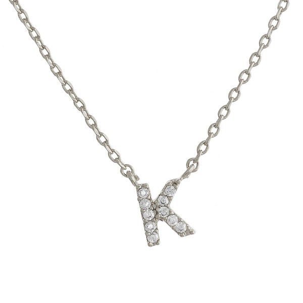 """Gold dipped necklace with initial """"K"""" pendant. Approximate 20"""" in length with 0.5"""" pendant."""