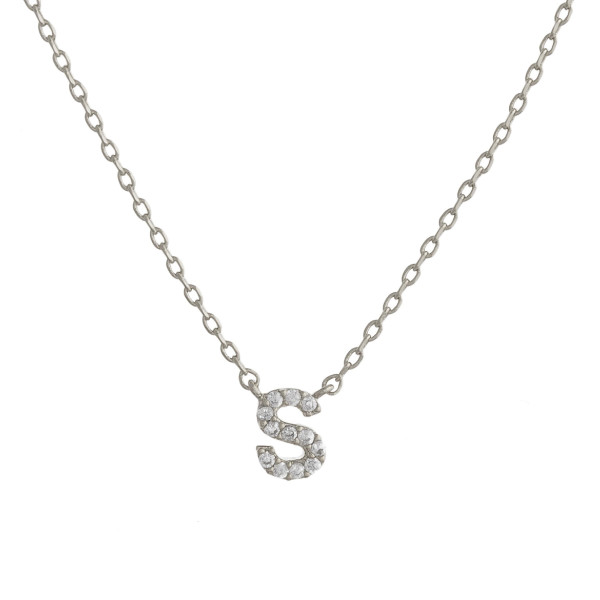 """Gold dipped necklace with initial """"S"""" pendant. Approximate 20"""" in length with 0.5"""" pendant."""