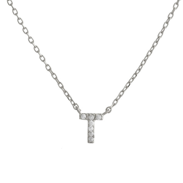 """Gold dipped necklace with initial """"T"""" pendant. Approximate 20"""" in length with 0.5"""" pendant."""