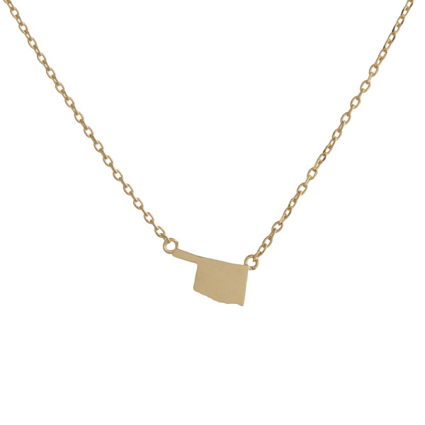 """Gold dipped necklace with Oklahoma state pendant. Approximate 15"""" with 0.5"""" pendant."""