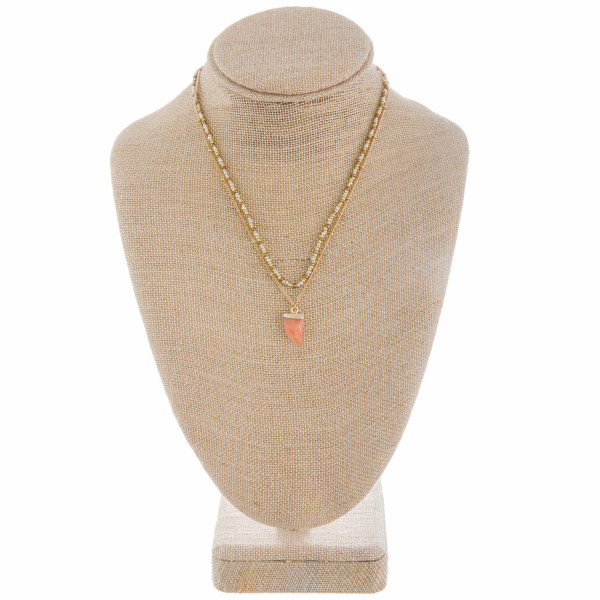 """Short beaded and metal necklace with natural stone pendant. Approximate 16"""" in length."""