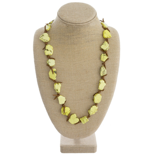 Yellow Long LEATHER natural stone necklace. Approximate 30 in length. (138042)