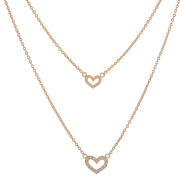 "Long layered metal dainty necklace with heart pendant. Approximate 17.5"" in length."