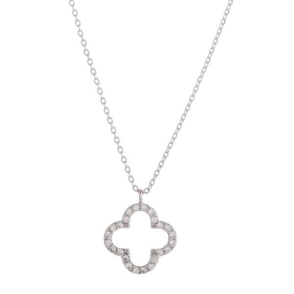 """Long metal necklace with clover pendant and rhinestones. Approximate 17.5"""" in length."""