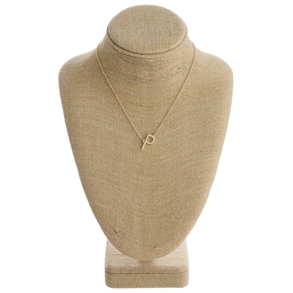"""Gold metal necklace featuring the initial """"P"""". Approximately 16"""" in length."""