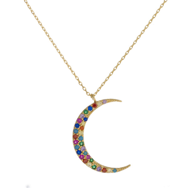 """Dainty cable chain necklace featuring a moon pendant with multicolor cubic zirconia details. Pendant approximately 1"""". Approximately 18"""" in length overall."""