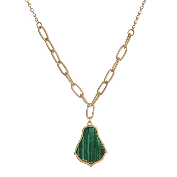 """Dainty cable chain and oval link necklace featuring a natural stone inspired pendant. Pendant approximately 1"""". Approximately 18"""" in length overall."""