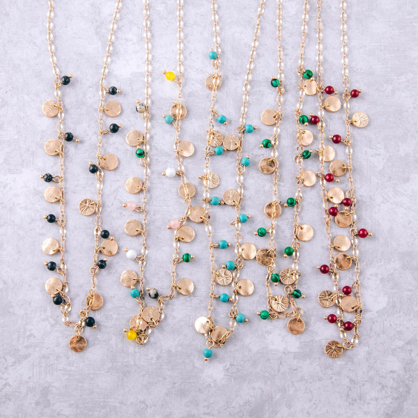 """Short necklace featuring natural stone bead details and gold disc accents. Approximately 16"""" in length."""