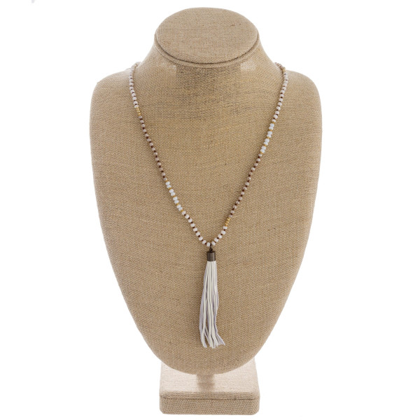 Wholesale long iridescent beaded necklace tassel pendant Pendant overall