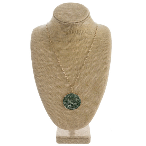 """Oval link chain necklace featuring a natural stone disc pendant. Pendant approximately 2"""" in diameter. Approximately 36"""" length overall."""