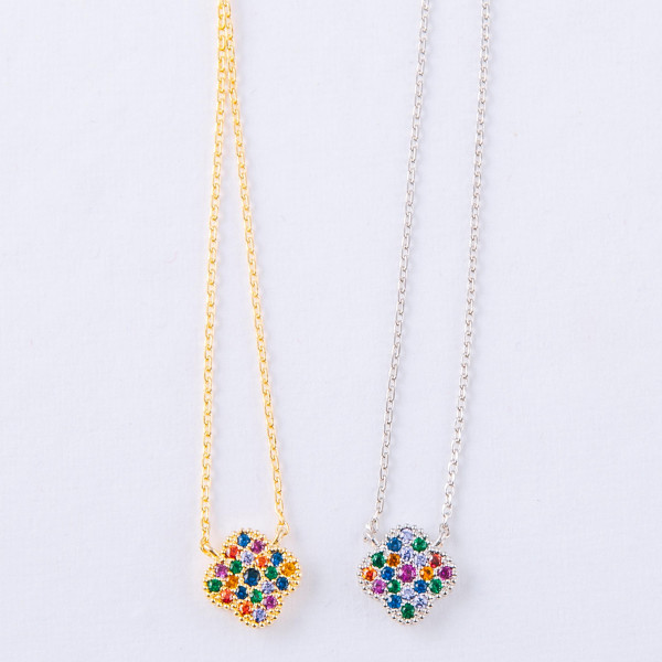 """Dainty cable chain necklace featuring a clover pendant with multicolor cubic zirconia details. Pendant approximately 1cm. Approximately 18"""" in length overall."""