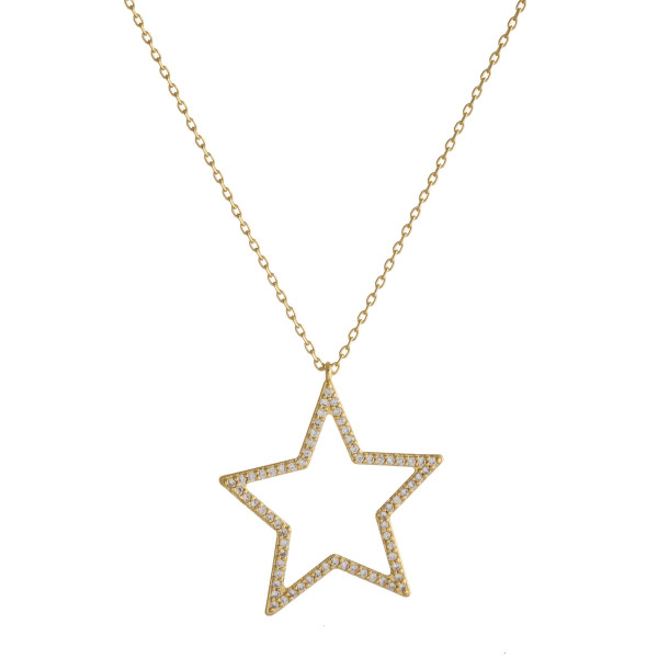 "Dainty cable chain necklace featuring a star pendant with cubic zirconia details. Pendant approximately 1"". Approximately 18"" in length overall."