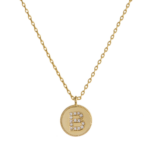 """Dainty gold cable chain necklace featuring a disc pendant with """"B"""" initial and cubic zirconia details. Pendant approximately 1cm in diameter. Approximately 16"""" in length overall."""