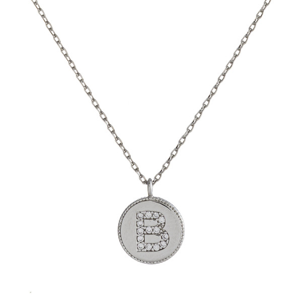 """Dainty silver cable chain necklace featuring a disc pendant with """"B"""" initial and cubic zirconia details. Pendant approximately 1cm in diameter. Approximately 16"""" in length overall."""