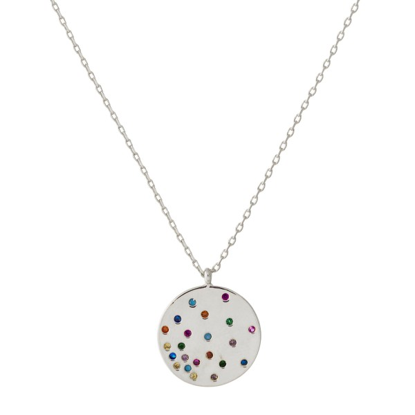 """Dainty cable chain necklace featuring a disc pendant with multicolor cubic zirconia details. Pendant approximately .5"""". Approximately 18"""" in length overall."""