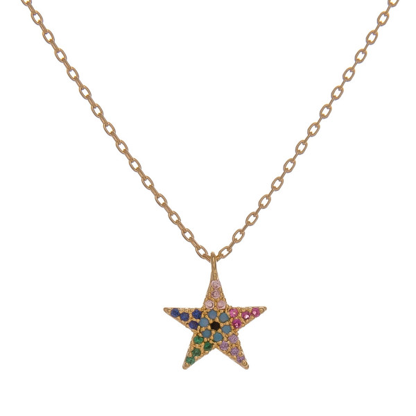 Wholesale dainty cable chain necklace star pendant multicolor cubic zirconia det