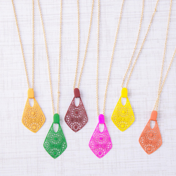 """Rolo chain necklace featuring a pointed teardrop filigree pendant. Pendant approximately 1"""". Approximately 18"""" in length overall."""