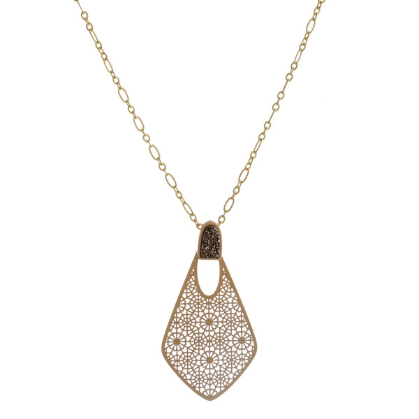 "Gold drawn cable chain necklace featuring a filigree pendant with a druzy accent. Pendant approximately 2.5"". Approximately 38"" in length overall."