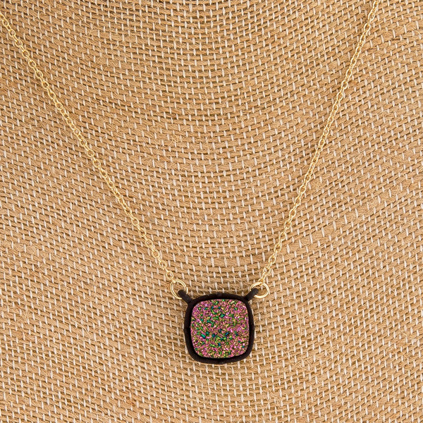 "Druzy encased square pendant necklace. Pendant approximately .5"" in diameter. Approximately 16"" in length overall."