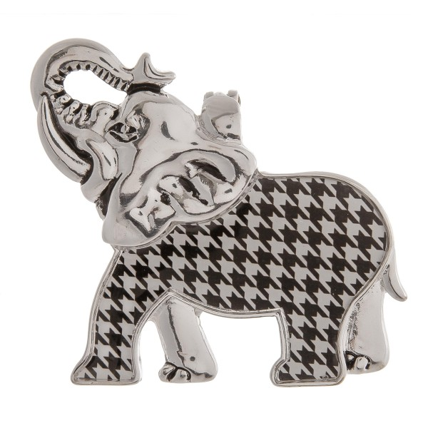 """Metal houndstooth encased elephant statement pendant.  - Magnetic closure - Fits on most chains - Statement pendant  - Necklace pendant  - Approximately 2"""" x 2.5"""" in size"""