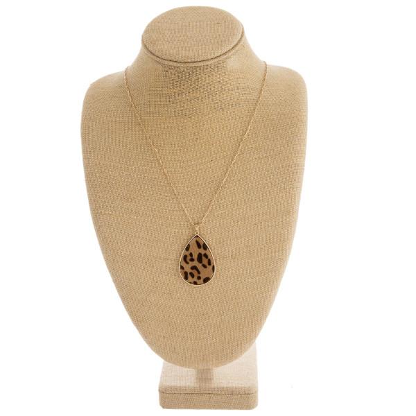 Wholesale fur faux leather leopard print metal encased teardrop pendant necklace