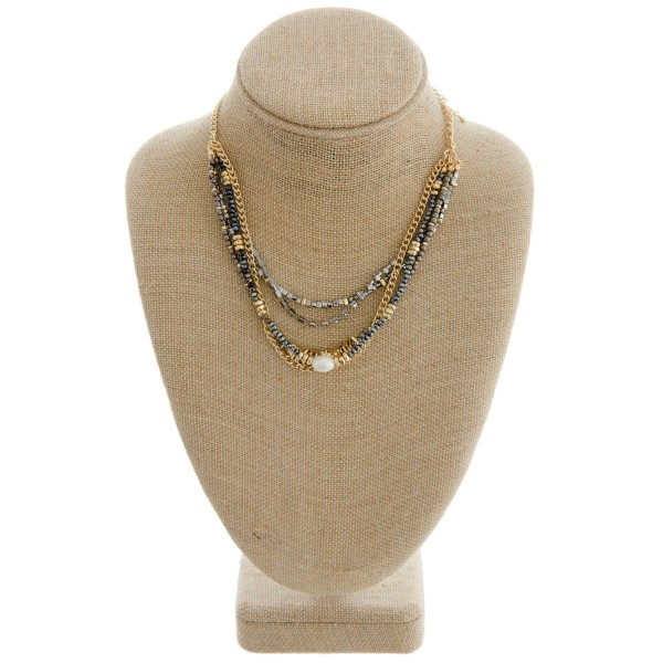 "Beaded bib pearl boho necklace with rhinestone details.  - Approximately 16"" in length with 3"" extender"