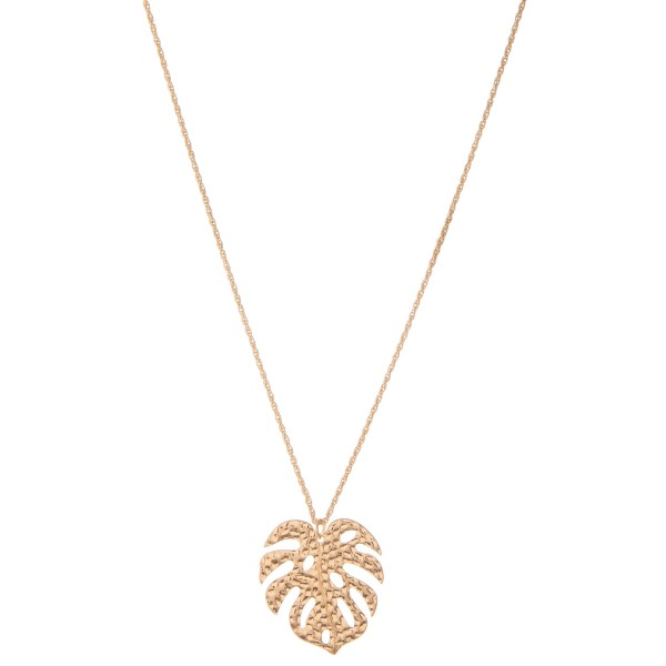 "Long Gold Hammered Palm Leaf Pendant Necklace.  - Pendant 1.75""  - Approximately 28"" L overall - 2"" Adjustable Extender"