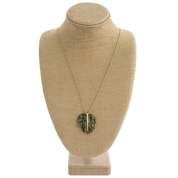 """Resin Palm Leaf Pendant Necklace.  - Pendant 1.75""""  - Approximately 28"""" L overall"""
