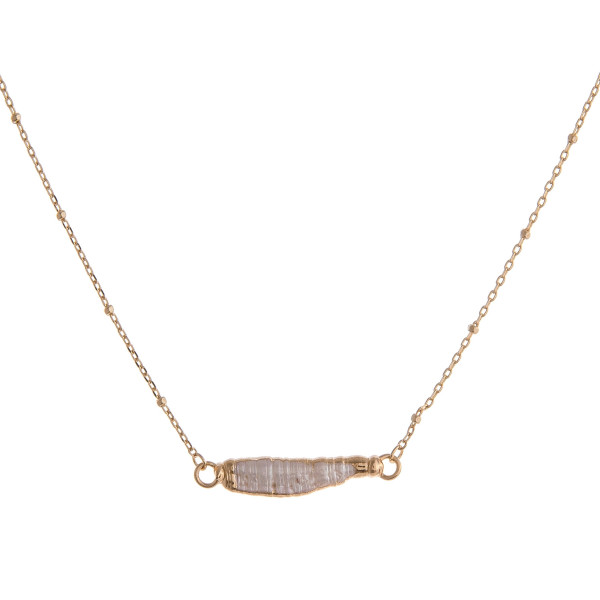 """Satellite chain faux pearl bar necklace. Pendant approximately 1"""" in length. Approximately 16"""" in length overall."""