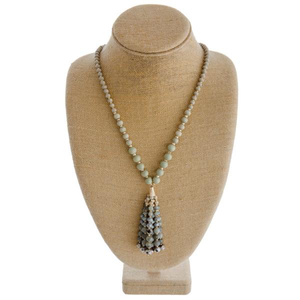 Wholesale long wood beaded necklace natural stone beaded tassel pendant Pendant