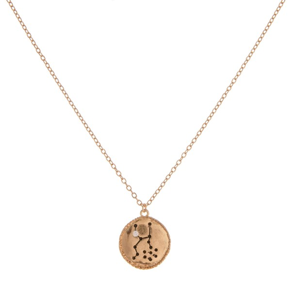 """Gold metal """"Taurus"""" Horoscope dot diagram pendant necklace.  """"All you need is the plan, the road map, and the courage to press on to your destination."""" - Earl Nightingale  - Pendant approximately .75"""" in diameter - Approximately 18"""" in length with 3"""" extender"""