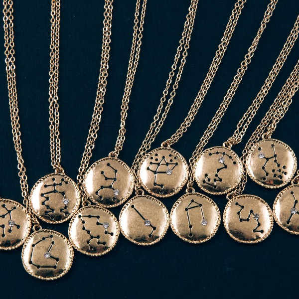 """Gold metal """"Virgo"""" Horoscope dot diagram pendant necklace.  """"Perfection is not attainable, but if we chase perfection we can catch excellence."""" - Vince Lombardi  - Pendant approximately .75"""" in diameter - Approximately 18"""" in length with 3"""" extender"""