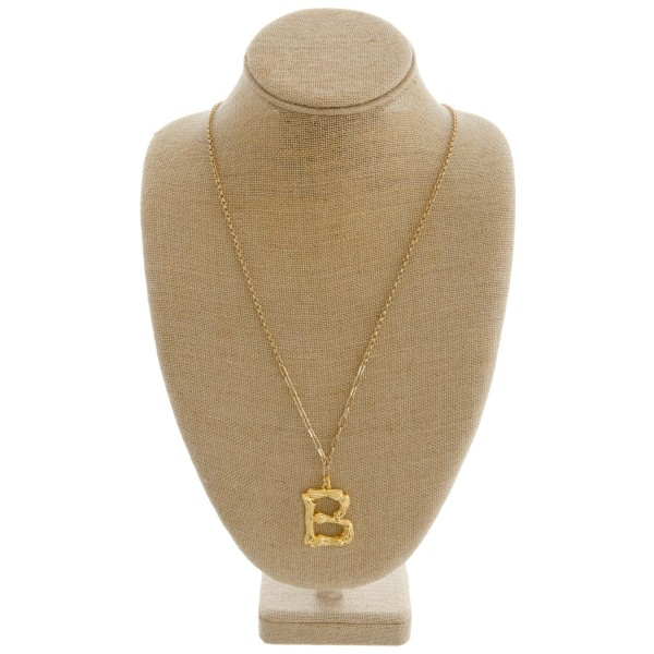 """Long metal bamboo """"B"""" initial pendant necklace.   - Pendant approximately 1.5"""" L - Approximately 34"""" in length overall"""