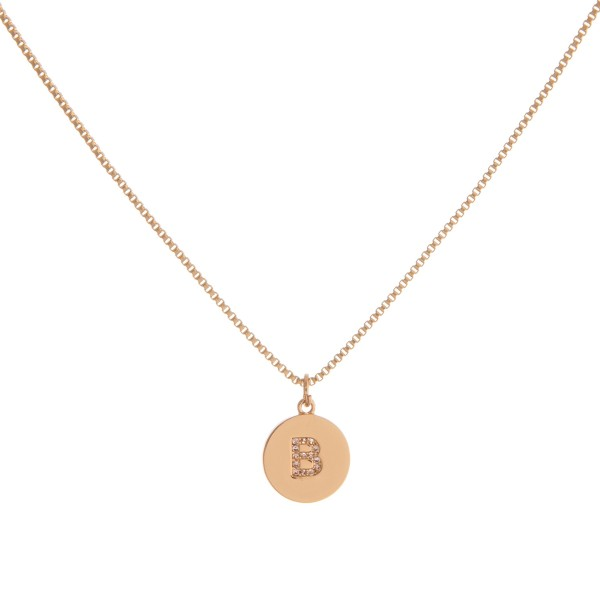 """Dainty gold cubic zirconia initial """"B"""" necklace.   - Pendant approximately 1cm in diameter - Approximately 16"""" in length with 3"""" extender"""