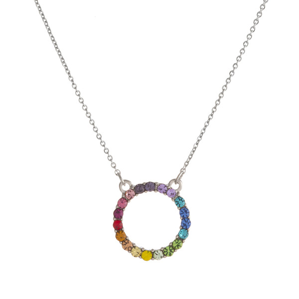 "Dainty multicolor cubic zirconia open circle pendant necklace. Pendant approximately .5"" in diameter. Approximately 18"" in length overall."