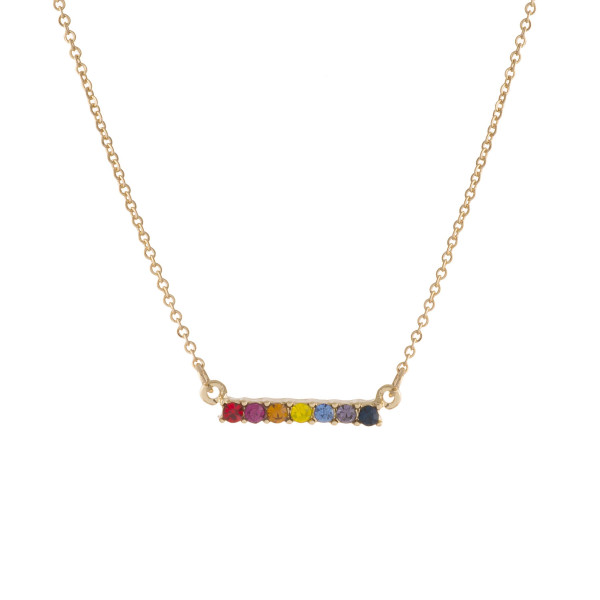 """Dainty multicolor cubic zirconia bar necklace. Approximately 16"""" in length."""