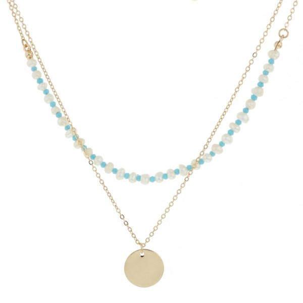 "Pearl beaded layered pendant necklace.  - Pendant approximately .5"" in diameter - Approximately 18"" in length overall with 3"" extender"