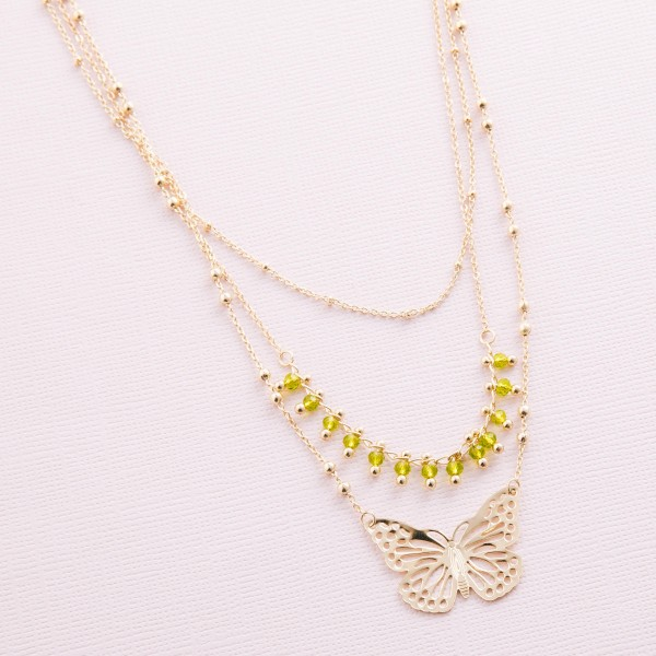 "Layered beaded butterfly necklace.  - Shortest layer approximately 14"" L - Approximately 18"" L overall  - 3"" extender"