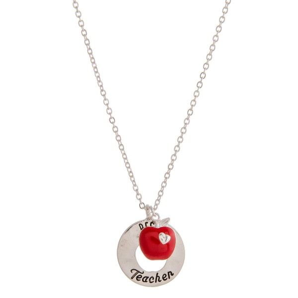 """""""Best Teacher"""" engraved cut out pendant necklace.  """"Teachers are expected to reach   unattainable goals with inadequate  tools. The miracle is that at times   they accomplish this impossible task.""""  - Pendant approximately 1"""" in diameter - Approximately 20"""" in length overall with 3.5"""" extender"""