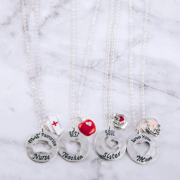 """""""Most Favorite Nurse"""" engraved cut out pendant necklace.  """"Kindness, Comfort, Compassion""""  """"Nurses are Angels""""  - Pendant approximately 1"""" in diameter - Approximately 20"""" in length overall with 3.5"""" extender"""