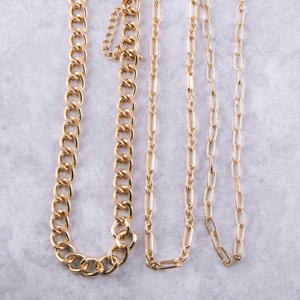 "Chunky gold cuban linked necklace.  - Approximately 18"" in length with 3.5"" extender"