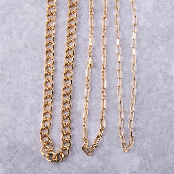"Long chunky gold cuban linked necklace.  - Approximately 28"" in length with 3.5"" extender"