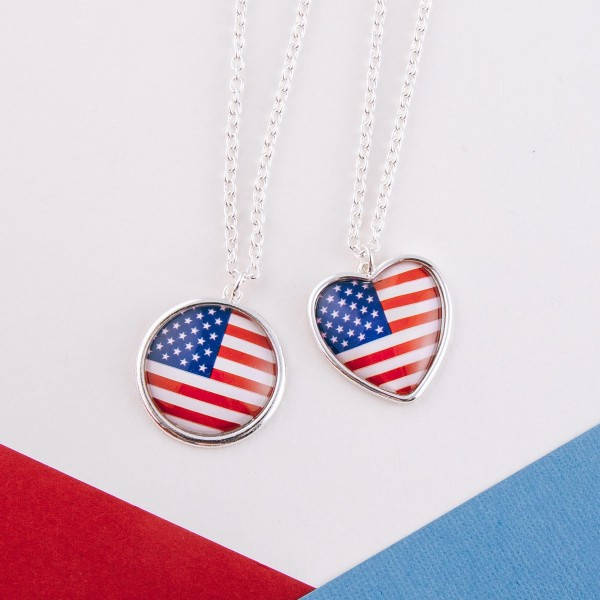 "Long USA heart dome necklace.  - Pendant approximately 1.5""  - Approximately 20"" L with 3"" extender"