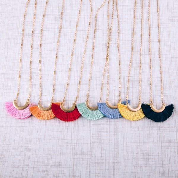 """Fringe tassel pendant necklace.  - Pendant approximately 1.5"""" in length - Approximately 18"""" in length overall with 3.5"""" extender"""